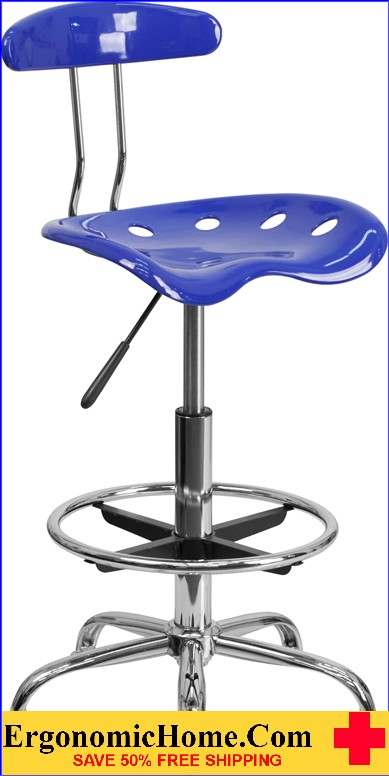 Ergonomic Home Vibrant Nautical Blue and Chrome Drafting Stool with Tractor Seat <b><font color=green>50% Off Read More Below...</font></b></font></b>