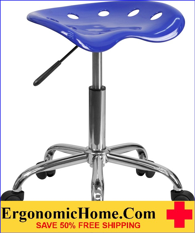 Ergonomic Home Vibrant Nautical Blue Tractor Seat and Chrome Stool <b><font color=green>50% Off Read More Below...</font></b>
