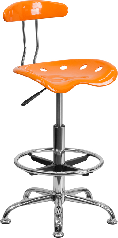 Ergonomic Home Vibrant Orange and Chrome Drafting Stool with Tractor Seat <b><font color=green>50% Off Read More Below...</font></b>