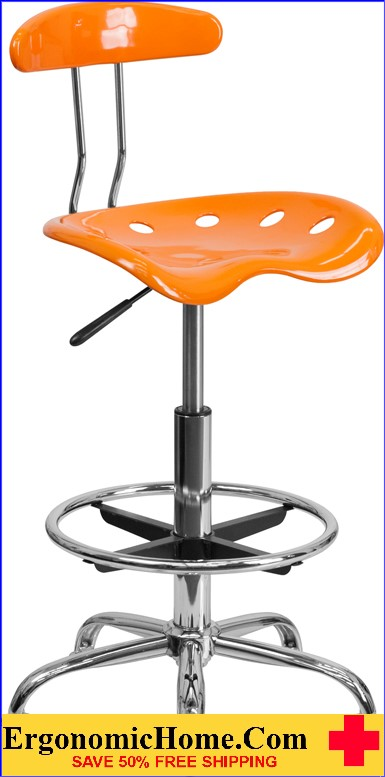 Ergonomic Home Vibrant Orange and Chrome Drafting Stool with Tractor Seat <b><font color=green>50% Off Read More Below...</font></b></font></b>