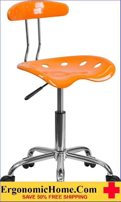 Ergonomic Home Vibrant Orange And Chrome Task Chair With Tractor Seat  U003cbu003eu003cfont