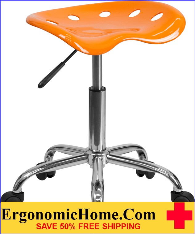 Ergonomic Home Vibrant Orange Tractor Seat and Chrome Stool <b><font color=green>50% Off Read More Below...</font></b>