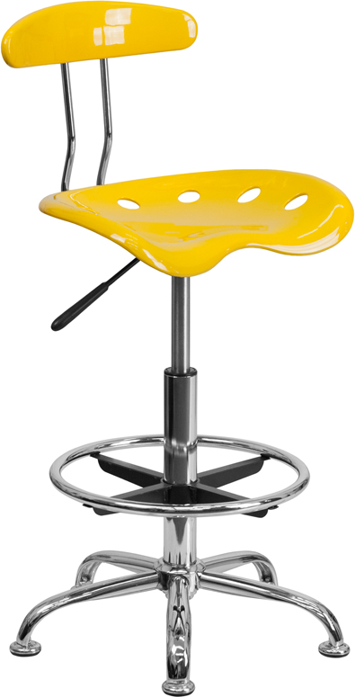 Ergonomic Home Vibrant Orange-Yellow and Chrome Drafting Stool with Tractor Seat <b><font color=green>50% Off Read More Below...</font></b>