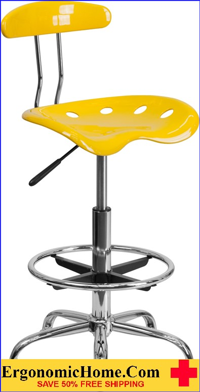 Ergonomic Home Vibrant Orange-Yellow and Chrome Drafting Stool with Tractor Seat <b><font color=green>50% Off Read More Below...</font></b></font></b>