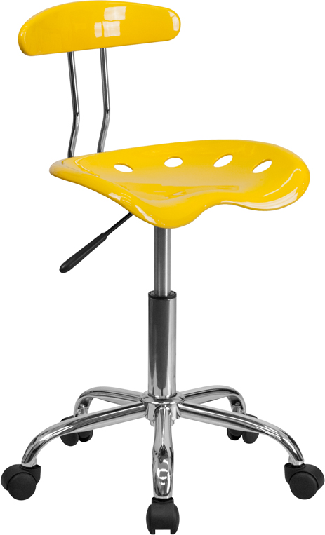 Ergonomic Home Vibrant Orange-Yellow and Chrome Task Chair with Tractor Seat <b><font color=green>50% Off Read More Below...</font></b>