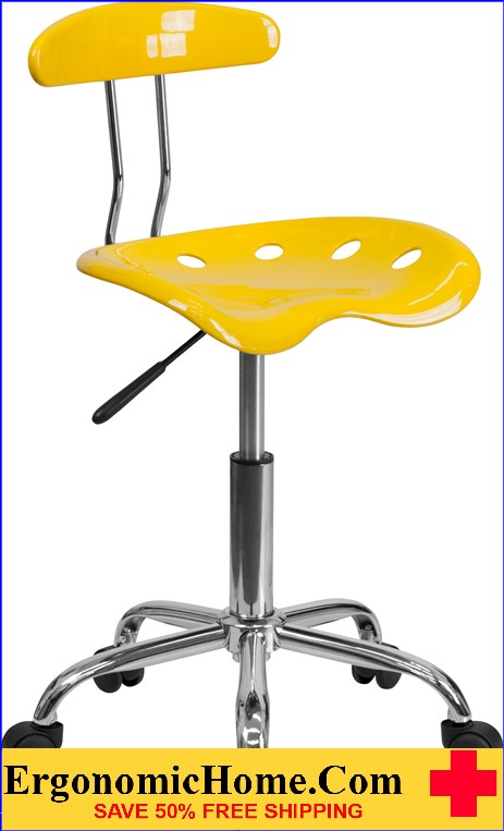 Ergonomic Home Vibrant Orange-Yellow and Chrome Task Chair with Tractor Seat <b><font color=green>50% Off Read More Below...</font></b></font></b>