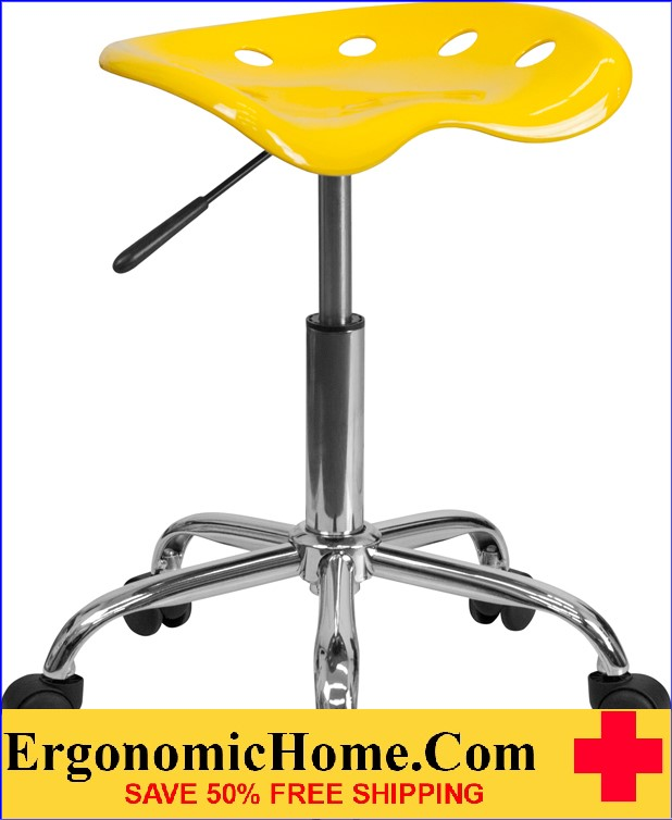 Ergonomic Home Vibrant Orange-Yellow Tractor Seat and Chrome Stool <b><font color=green>50% Off Read More Below...</font></b></font></b>