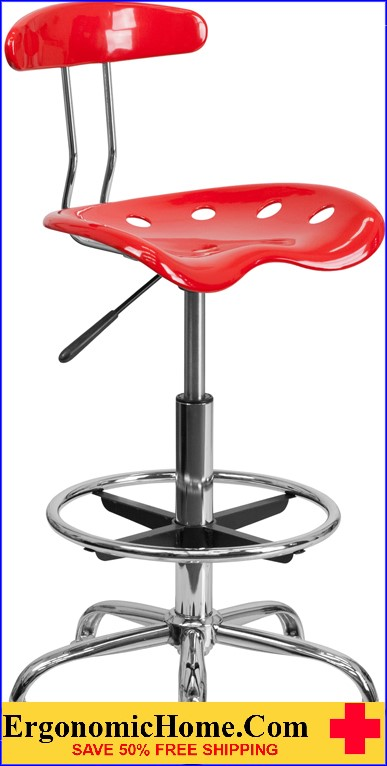 Ergonomic Home Vibrant Red and Chrome Drafting Stool with Tractor Seat <b><font color=green>50% Off Read More Below...</font></b></font></b>