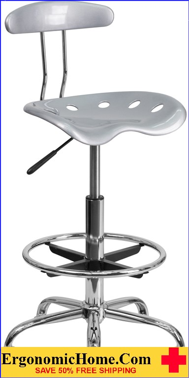 Ergonomic Home Vibrant Silver and Chrome Drafting Stool with Tractor Seat <b><font color=green>50% Off Read More Below...</font></b>