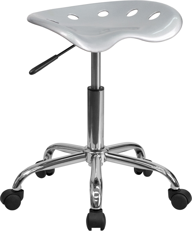 Ergonomic Home Vibrant Silver Tractor Seat and Chrome Stool <b><font color=green>50% Off Read More Below...</font></b>