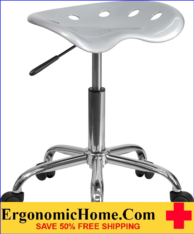 Ergonomic Home Vibrant Silver Tractor Seat and Chrome Stool <b><font color=green>50% Off Read More Below...</font></b></font></b>