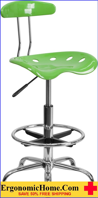 Ergonomic Home Vibrant Spicy Lime and Chrome Drafting Stool with Tractor Seat <b><font color=green>50% Off Read More Below...</font></b>