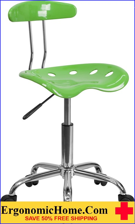 Ergonomic Home Vibrant Spicy Lime and Chrome Task Chair with Tractor Seat <b><font color=green>50% Off Read More Below...</font></b>