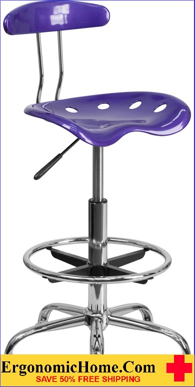 Ergonomic Home Vibrant Violet and Chrome Drafting Stool with Tractor Seat <b><font color=green>50% Off Read More Below...</font></b>