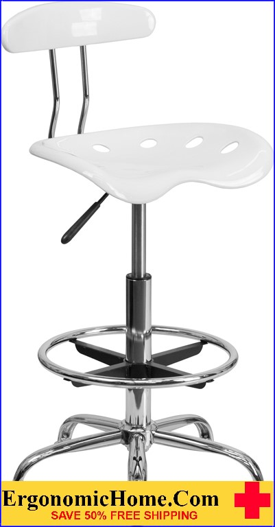 Ergonomic Home Vibrant White and Chrome Drafting Stool with Tractor Seat <b><font color=green>50% Off Read More Below...</font></b>