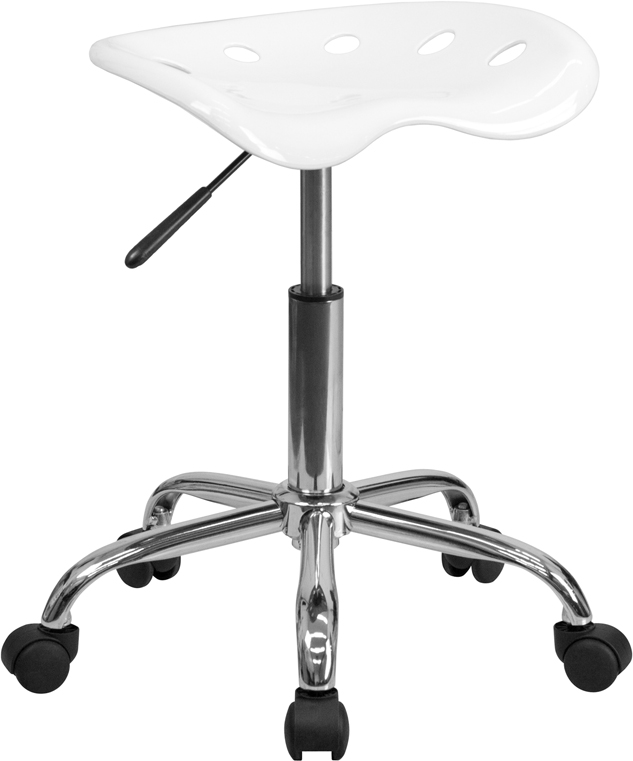 Ergonomic Home Vibrant White Tractor Seat and Chrome Stool <b><font color=green>50% Off Read More Below...</font></b>