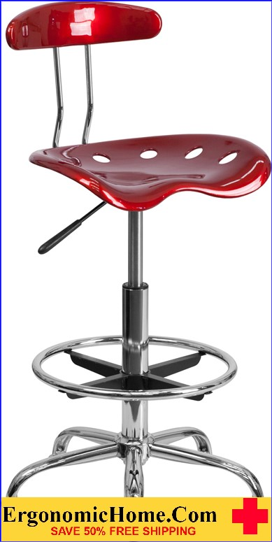 Ergonomic Home Vibrant Wine Red and Chrome Drafting Stool with Tractor Seat <b><font color=green>50% Off Read More Below...</font></b>