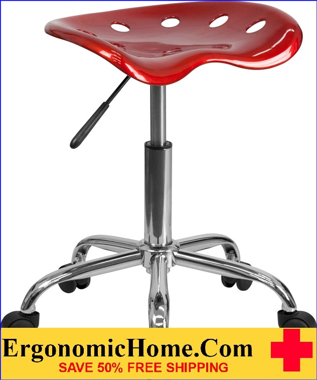 Ergonomic Home Vibrant Wine Red Tractor Seat and Chrome Stool <b><font color=green>50% Off Read More Below...</font></b>