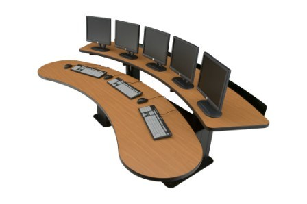 Control room table desk ehban24 adjustable height desk viking banana table houston tx usa - Viking office desk ...