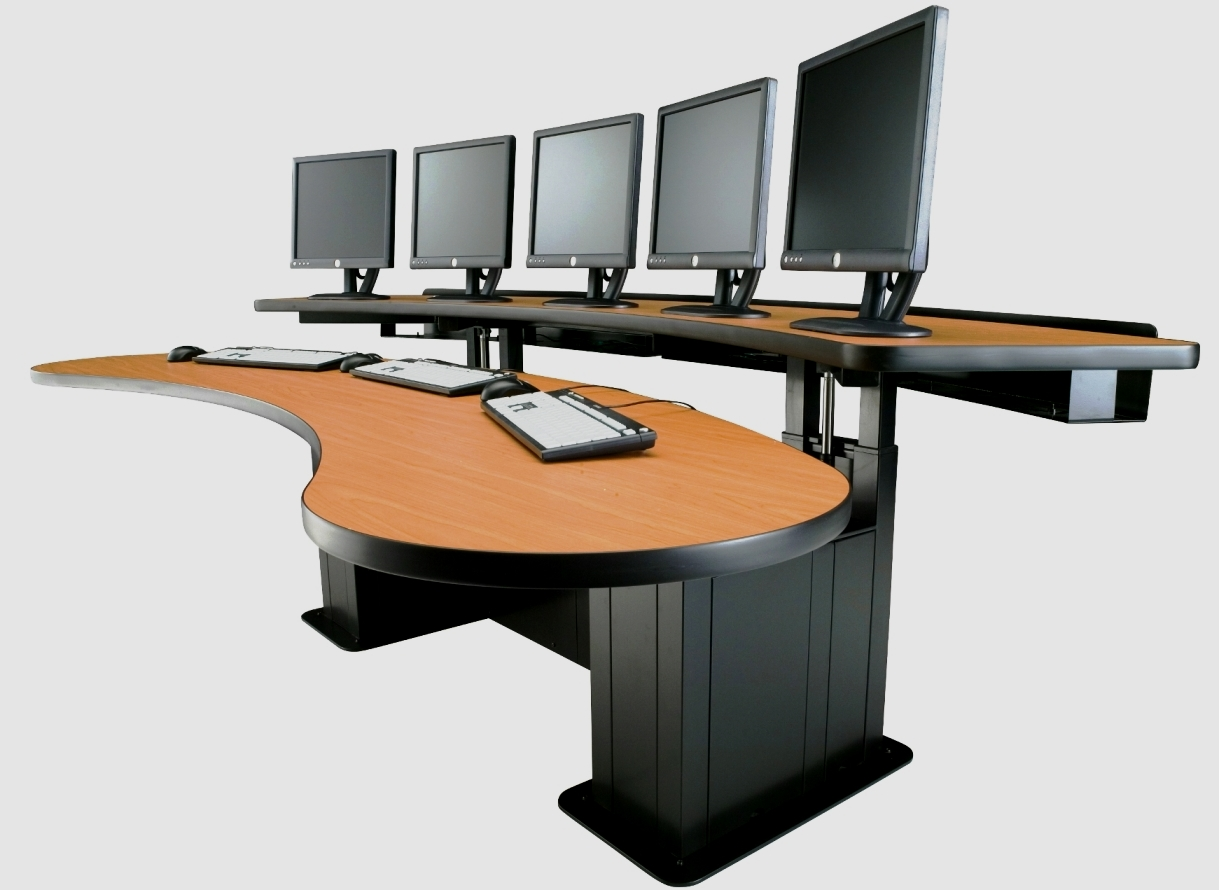 Control room table desk sit stand desk adjustable height desk banana table ehban24 - Viking office desk ...