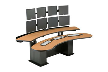 Control room console table viking banana table ergonomic desk ehban 32 adjustable ergonomic - Viking office desk ...