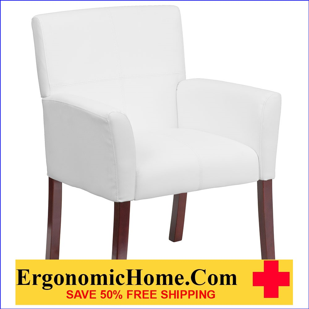 Ergonomic Home White Leather Executive Side Chair or Reception Chair with Mahogany Legs EH-BT-353-WH-GG .