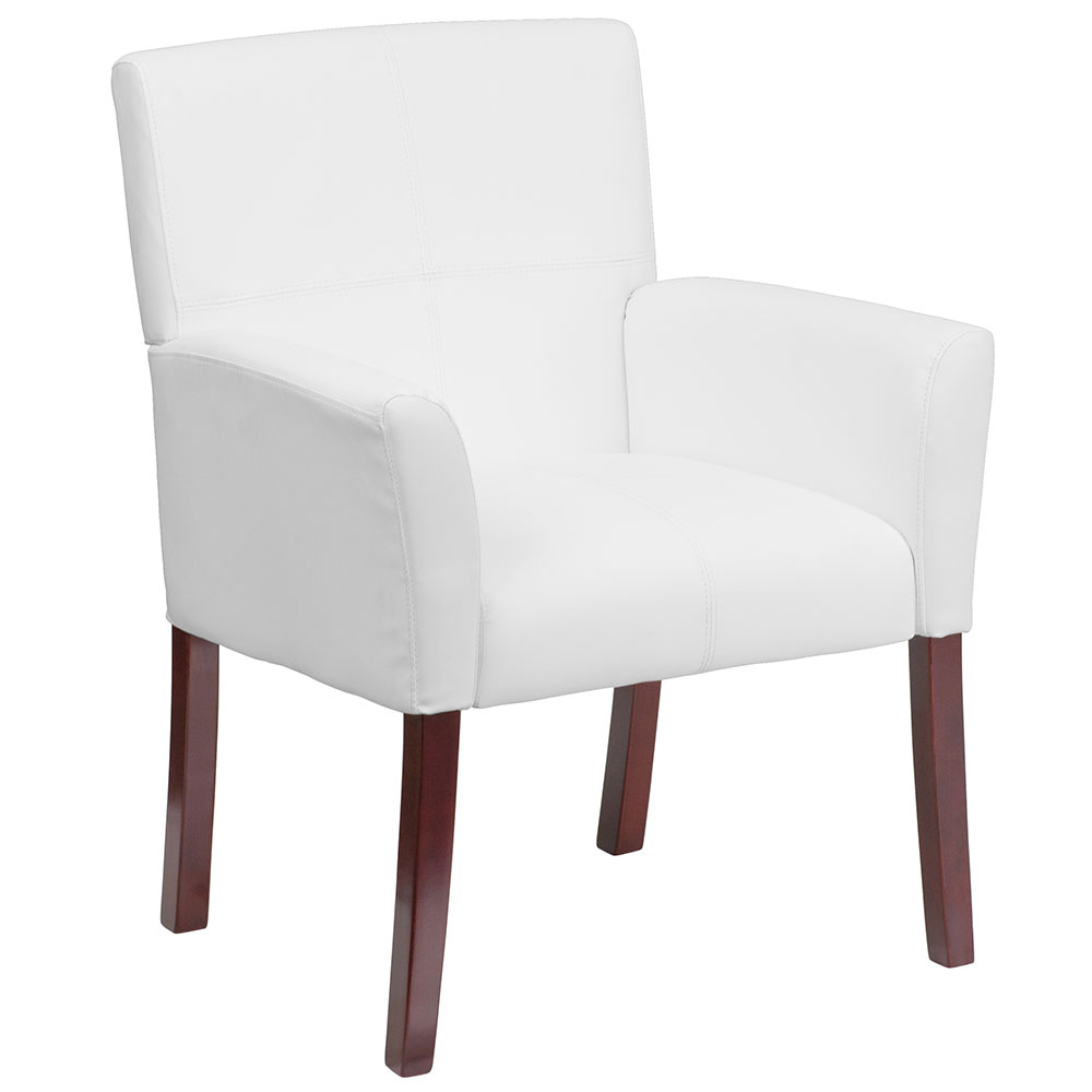 Ergonomic Home White Leather Executive Side Chair or Reception Chair with Mahogany Legs EH-BT-353-WH-GG <b><font color=green>50% Off Read More Below...</font></b>