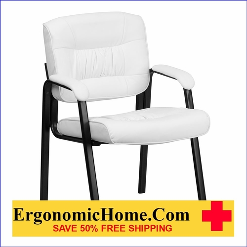 Ergonomic Home White Leather Executive Side Chair with Black Frame Finish EH-BT-1404-WH-GG <b><font color=green>50% Off Read More Below...</font></b>