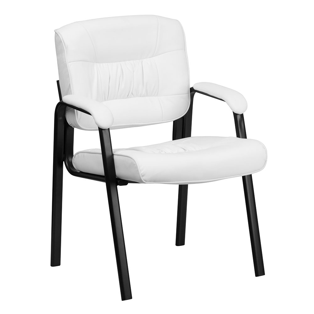 ergonomic home white leather executive side chair with black frame finish bt1404wh