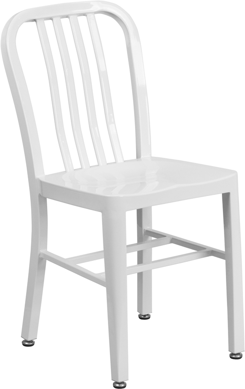 ERGONOMIC HOME White Metal Indoor-Outdoor Chair