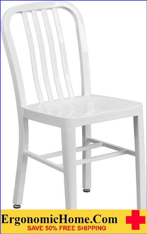 ERGONOMIC HOME White Metal Indoor-Outdoor Chair  | <b><font color=green>50% Off Read More Below...</font></b>