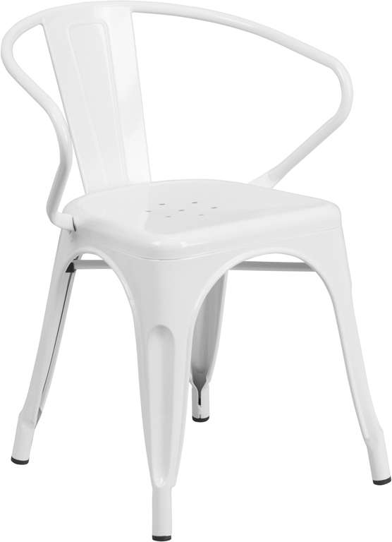 ERGONOMIC HOME White Metal Indoor-Outdoor Chair with Arms