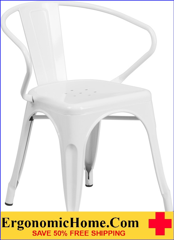 ERGONOMIC HOME White Metal Indoor-Outdoor Chair with Arms  | <b><font color=green>50% Off Read More Below...</font></b>
