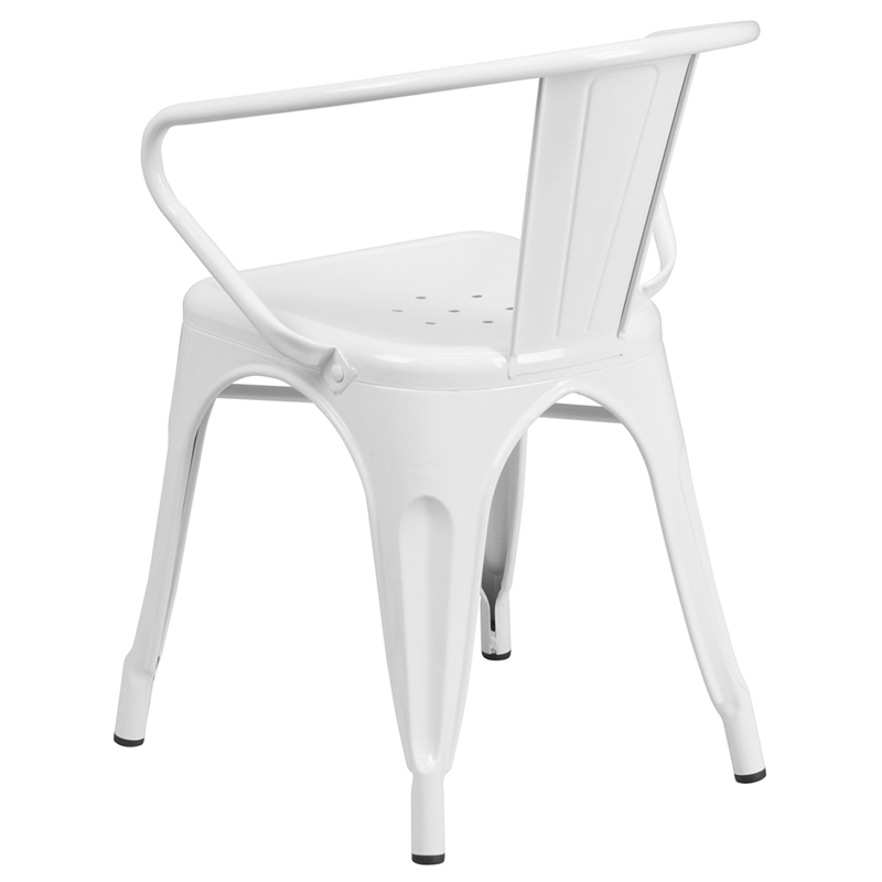 Beau ERGONOMIC HOME White Metal Indoor Outdoor Chair With Arms | 50% Off Read  More Below.