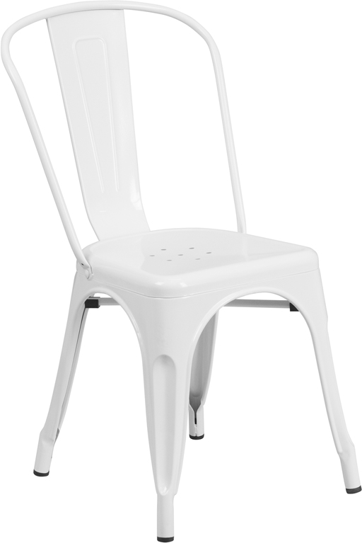 ERGONOMIC HOME White Metal Indoor-Outdoor Stackable Chair
