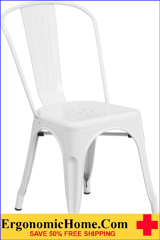 ERGONOMIC HOME White Metal Indoor-Outdoor Stackable Chair  | <b><font color=green>50% Off Read More Below...</font></b>