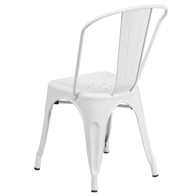 Ergonomic Home White Metal Indoor Outdoor Stackable Chair