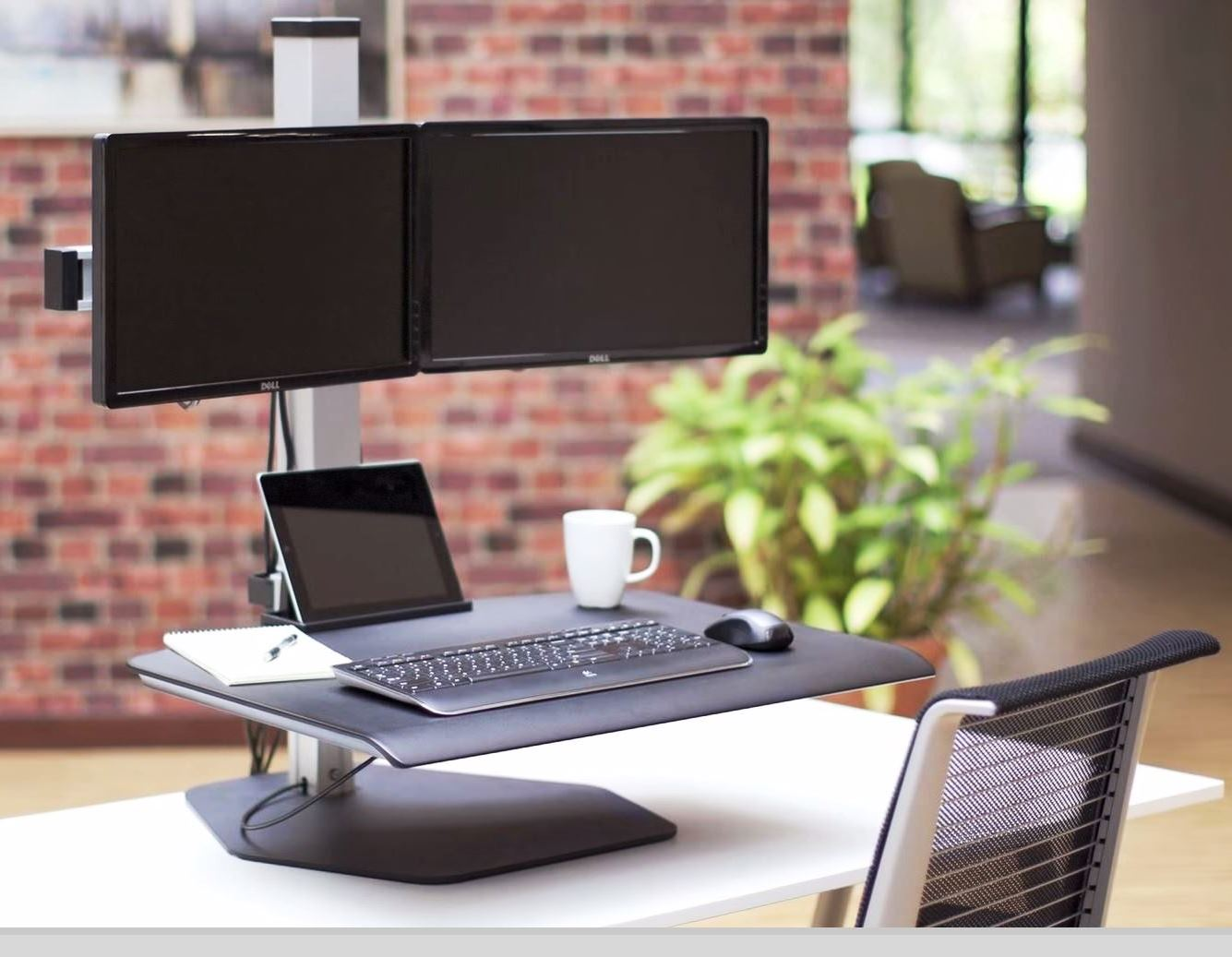 <b>Stand To Get Fit With Winston Manual Adjustable Dual Sit Stand Workstation #WSTN-2</i></b></font> <font color=#c60>Read More Below...</font>