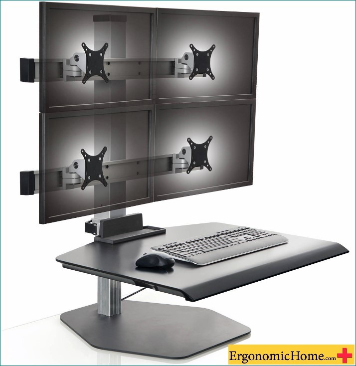 Innovative Winston Quad Monitor Stand | Sit To Stand Adjustable Workstation WNST-22-FS-M