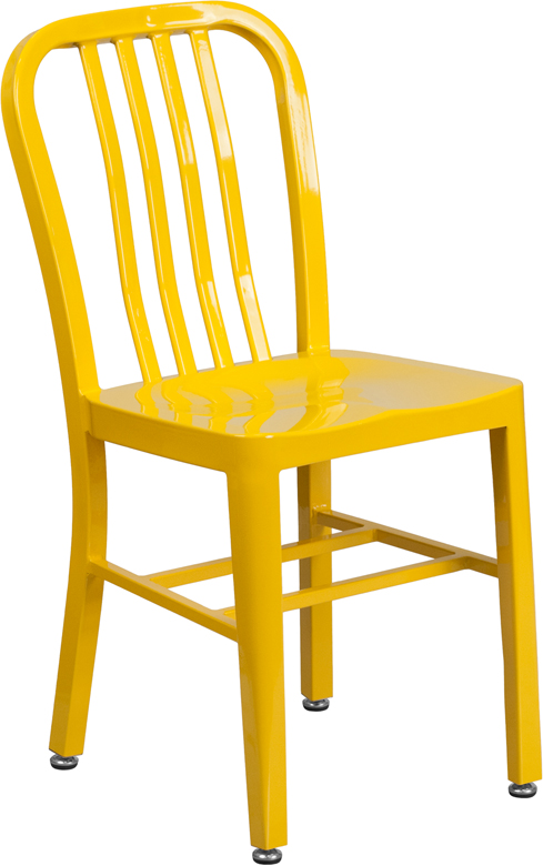 ERGONOMIC HOME Yellow Metal Indoor-Outdoor Chair