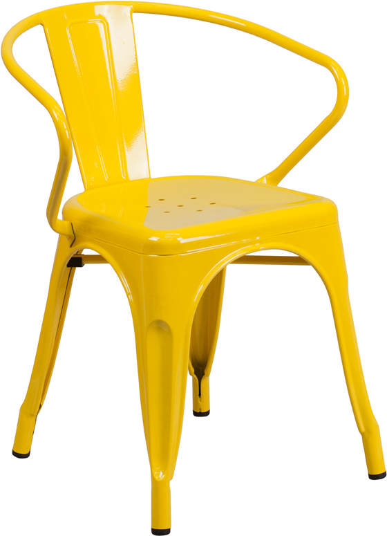 ERGONOMIC HOME Yellow Metal Indoor-Outdoor Chair with Arms