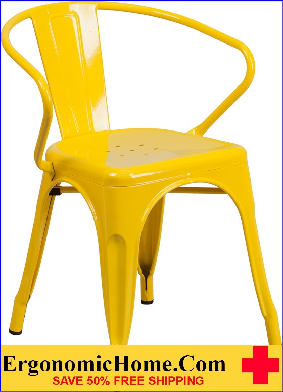 ERGONOMIC HOME Yellow Metal Indoor-Outdoor Chair with Arms  | <b><font color=green>50% Off Read More Below...</font></b>