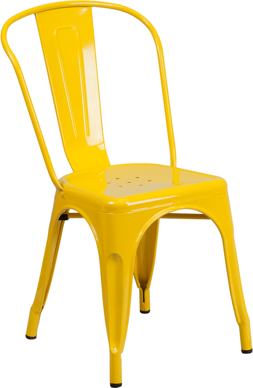 ERGONOMIC HOME Yellow Metal Indoor-Outdoor Stackable Chair