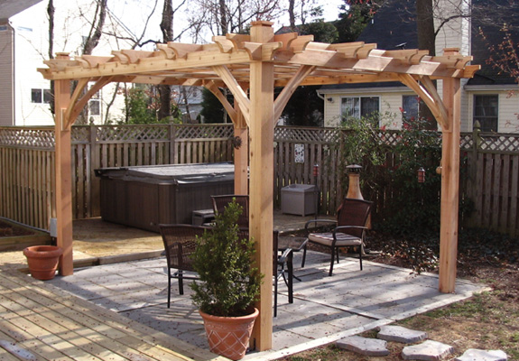 12 x 12 Breeze 4-Post Cedar Pergola - BZ1212 - X 12 Breeze 4-Post Cedar Pergola - BZ1212