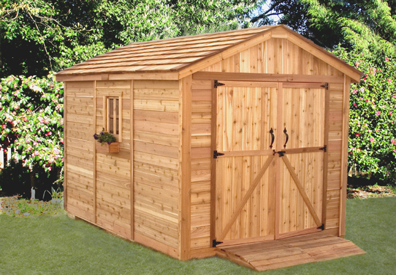 Crav cedar garden storage shed for Wooden garden storage shed
