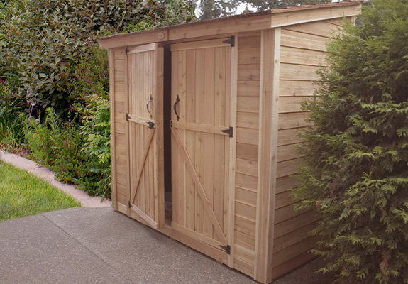 8 X 4 Esaver Lean To Style Cedar Storage Shed With Double Doors Ss84d