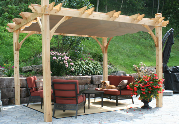 Breeze 10 Foot X 12 Foot Cedar Pergola With Retractable Canopy   10 Foot X  12