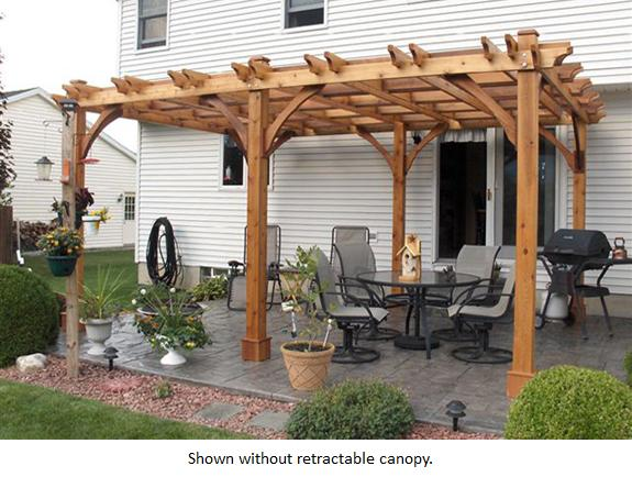 Breeze 12 Foot x 16 Foot Cedar Pergola with Retractable Canopy - 12 Foot X 16 Foot Cedar Pergola With Retractable Canopy