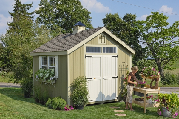 Williamsburg colonial wooden outdoor garden shed kit 10 for Garden shed 10x10
