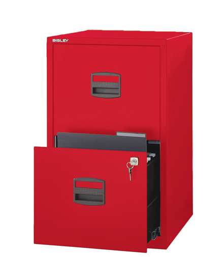 Bisley Two Drawer Steel Home Filing Cabinet Orange File2: Bisley 2 Drawer Filing Cabinet Red